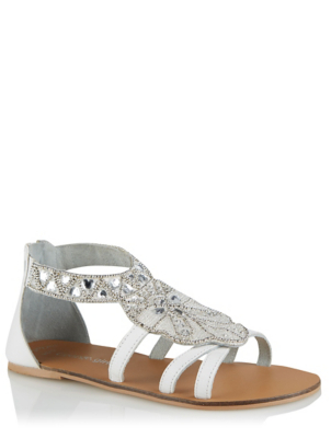 White Leather Embellished Panel Gladiator Sandals