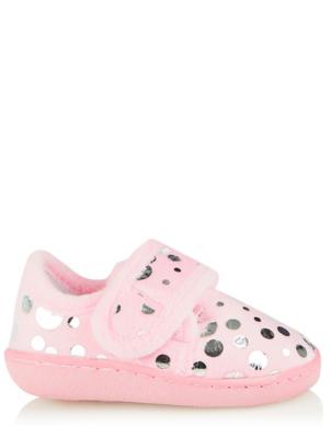 Pale Pink Foil Polka Dot Fullback Slippers