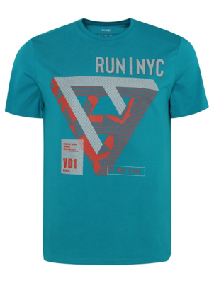 Blue Running Slogan T-Shirt