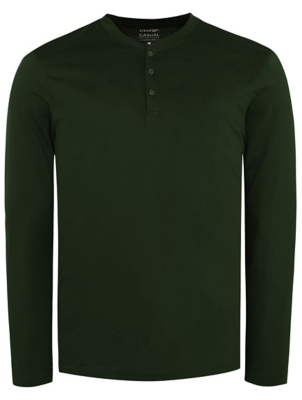 Khaki Grandad Collar Long Sleeve T-Shirt