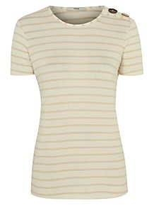 316ea2e4a828cb Cream Striped Button Shoulder T-Shirt