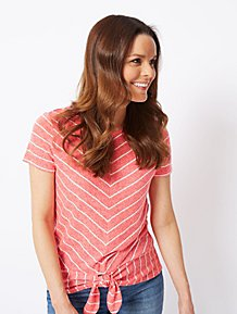 7da4ce5ea7081 Pink Striped Twist Hem T-Shirt