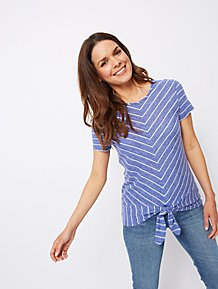 d756690665d5e Blue Striped Twist Hem T-Shirt