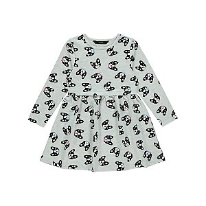 Grey Dog Print Long Sleeve Jersey Dress