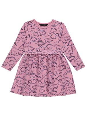 Pink Dinosaur Print Long Sleeve Jersey Dress