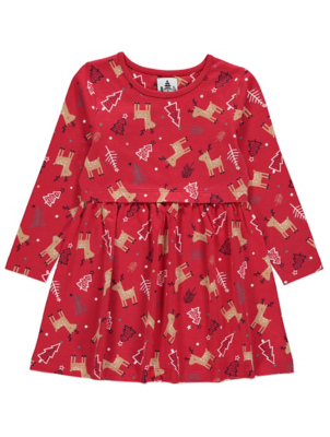 Red Rudolph Jersey Christmas Dress