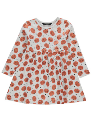 Halloween Pumpkin Print Jersey Dress