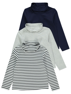 Navy Striped High Neck Tops 3 Pack
