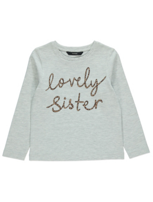 Grey Marl Lovely Sister Slogan Long Sleeve Top