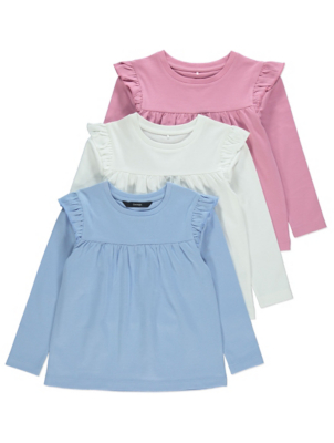 Pink Ruffled Shoulder Tops 3 Pack