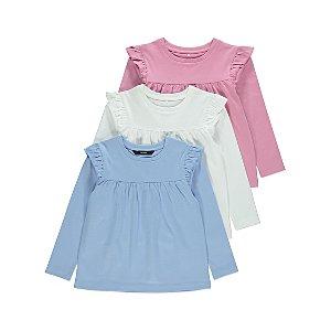 Pink Ruffled Shoulder Tops 3 Pack