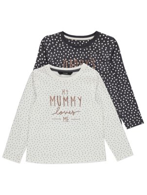 Mummy Daddy Slogan Polka Dot Tops 2 Pack