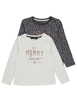 Mummy Daddy Slogan Polka Dot Tops 2 Pack
