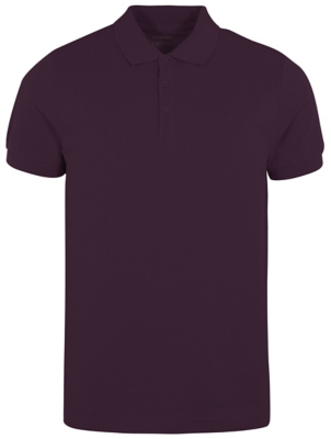 Plum Pique Short Sleeve Polo Shirt