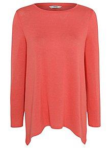 068f05282be99 Coral Fine Knit Handkerchief Hem Top