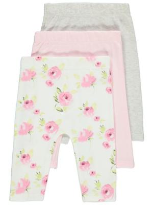Pale Pink Rose Print Leggings 3 Pack
