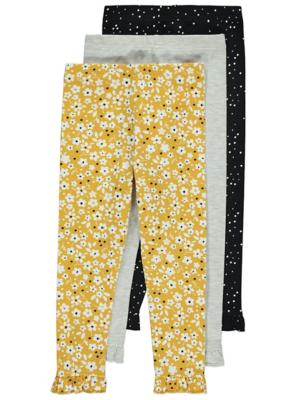 Floral Frill Trim Leggings 3 Pack