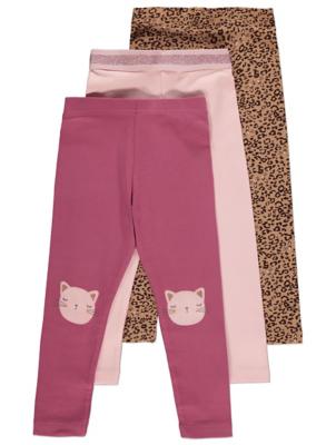 Pink Leopard Print Appliqué Leggings 3 Pack