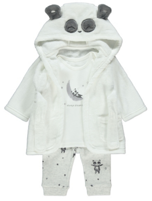 White Panda Pyjamas and Dressing Gown Set