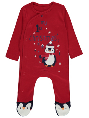 Red My First Christmas Penguin Sleepsuit