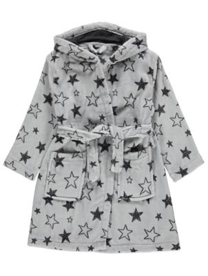 Grey Star Print Fleece Dressing Gown