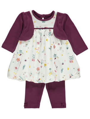 Plum Floral Mock Jacket Dress and Leggings Outfit