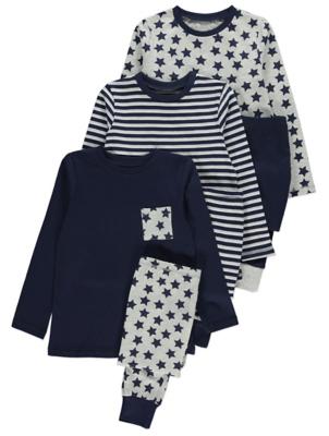 Navy Stars and Stripes Pyjamas 3 Pack