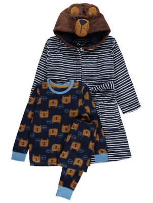 Navy Bear Long Sleeve Pyjamas and Dressing Gown Set
