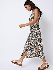 4156b53dcf1 Leopard Print Belted Button-Front Midaxi Dress