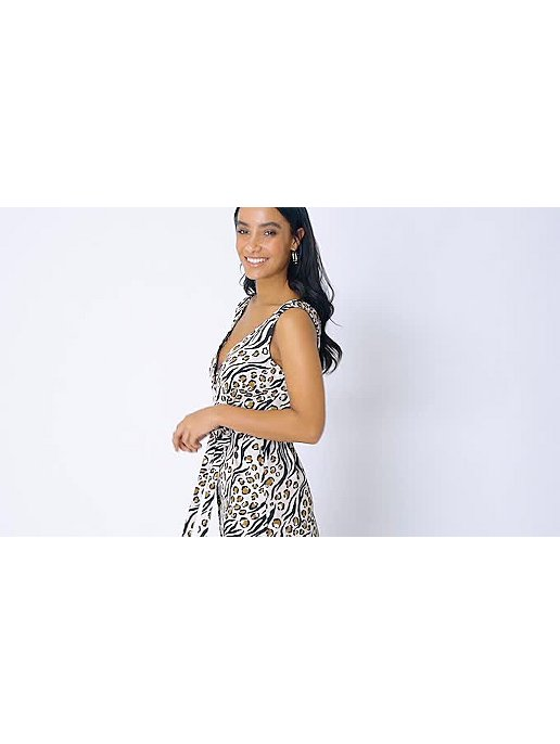 2706fb4ebbc Leopard Print Belted Button-Front Midaxi Dress
