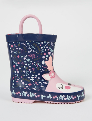First Walkers Navy Floral Deer Wellington Boots