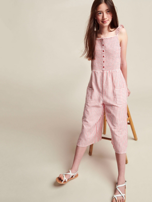 Red and White Striped Culotte Jumpsuit