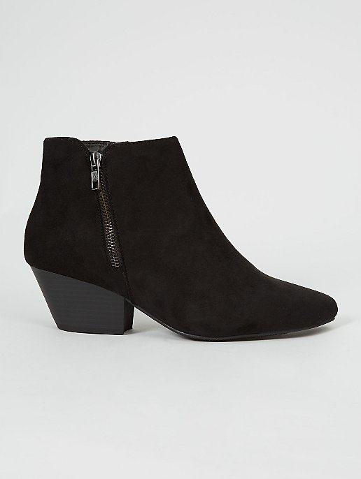 Wide Fit Black Faux Suede Ankle Boots