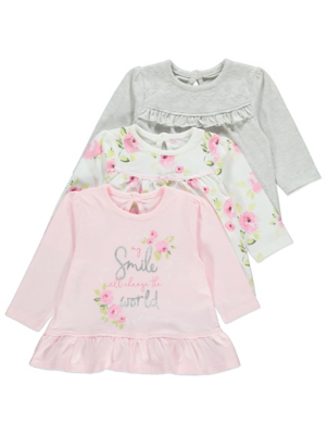 Pink Floral Long Sleeved Frill Tops 3 Pack
