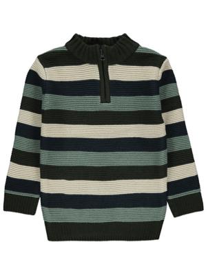Green Striped Zip Neck Jumper