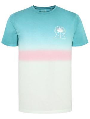 Blue Dip Dye Slogan Emblem T-Shirt