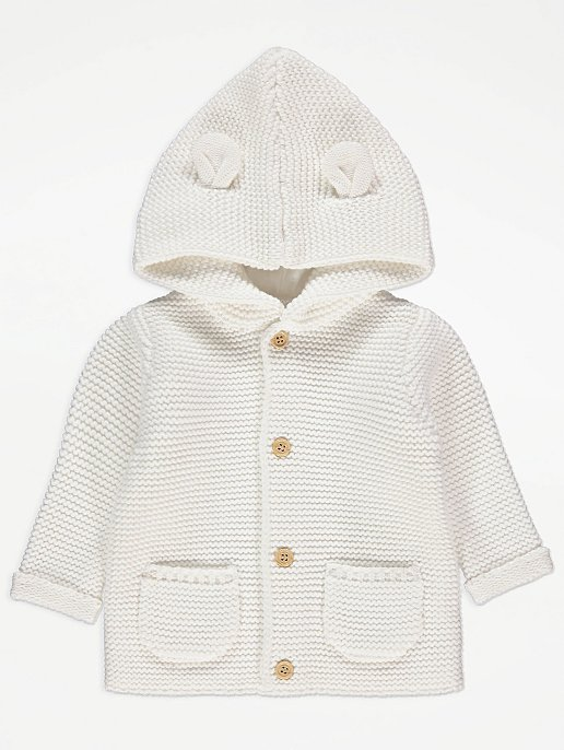 White Hooded Chunky Knit Cardigan