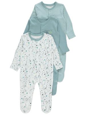 Teal Rocket Print Sleepsuits 3 Pack