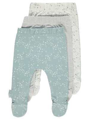 Turquoise Star Print Joggers with Feet