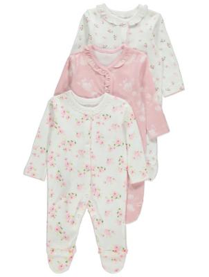 Pink Rose Print Long Sleeve Sleepsuits 3 Pack
