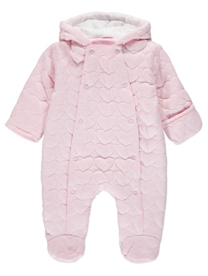 Pink Heart Print Hooded Quilted Pramsuit