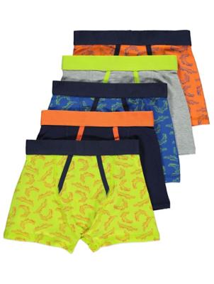 Neon Trim Crocodile Print Trunks 5 Pack