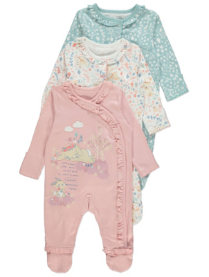 Pastel Bunny Long Sleeve Sleepsuits 3 Pack