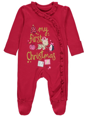 Red My First Christmas Sleepsuit