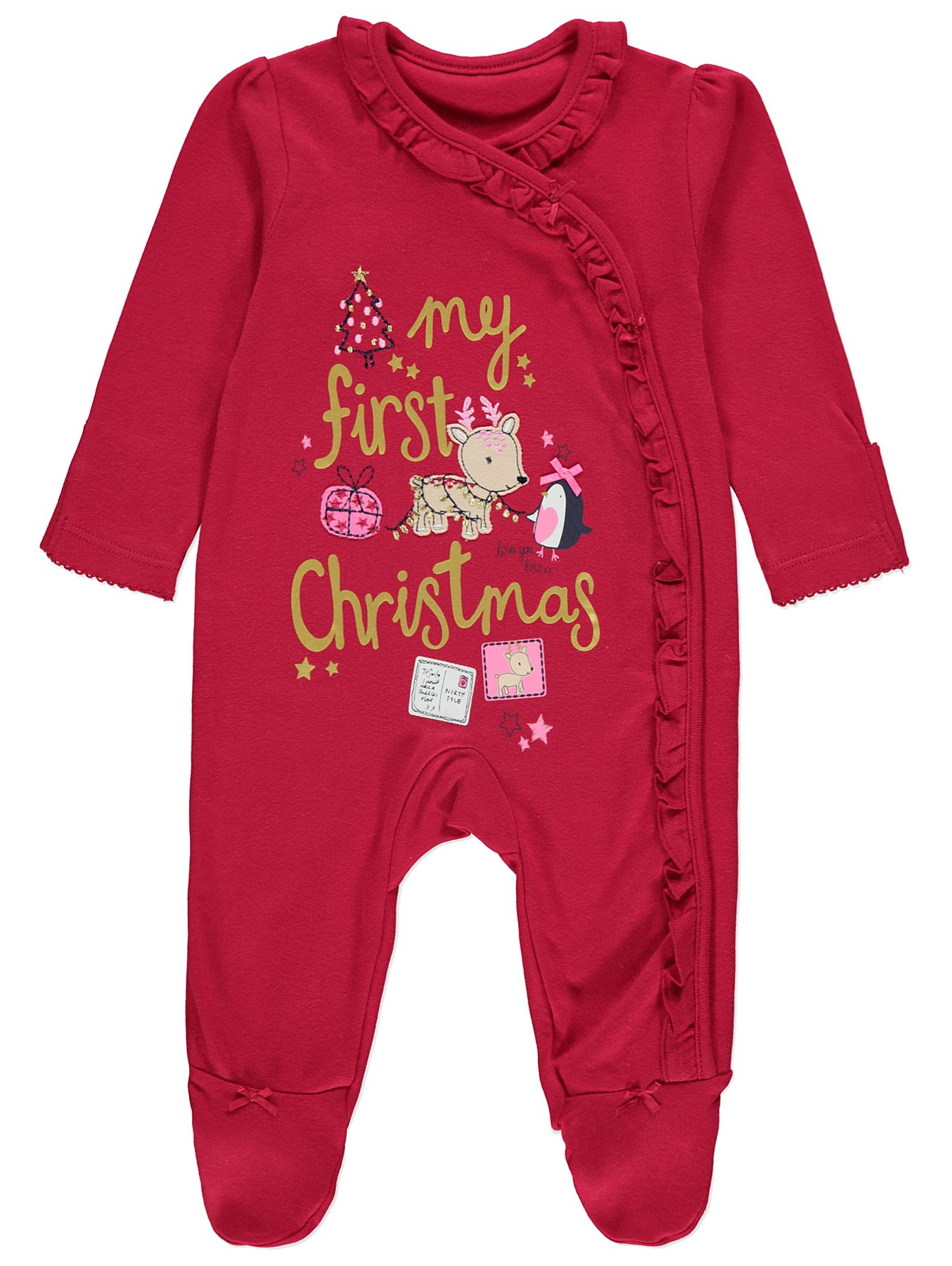 My First Christmas.Red My First Christmas Sleepsuit