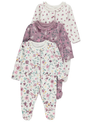 Pink Floral Long Sleeve Sleepsuits 3 Pack