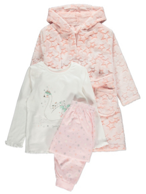 Pink Swan Pyjamas and Dressing Gown Set