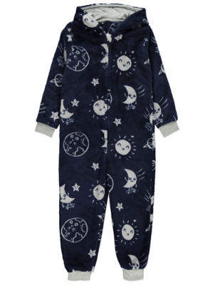 Navy Galaxy Print Fleece Onesie
