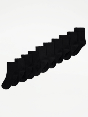 Black Cotton Rich Ankle Socks 10 Pack