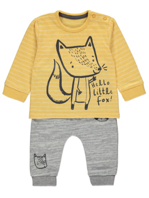 Yellow Little Fox Long Sleeve Top and Leggings Outfit